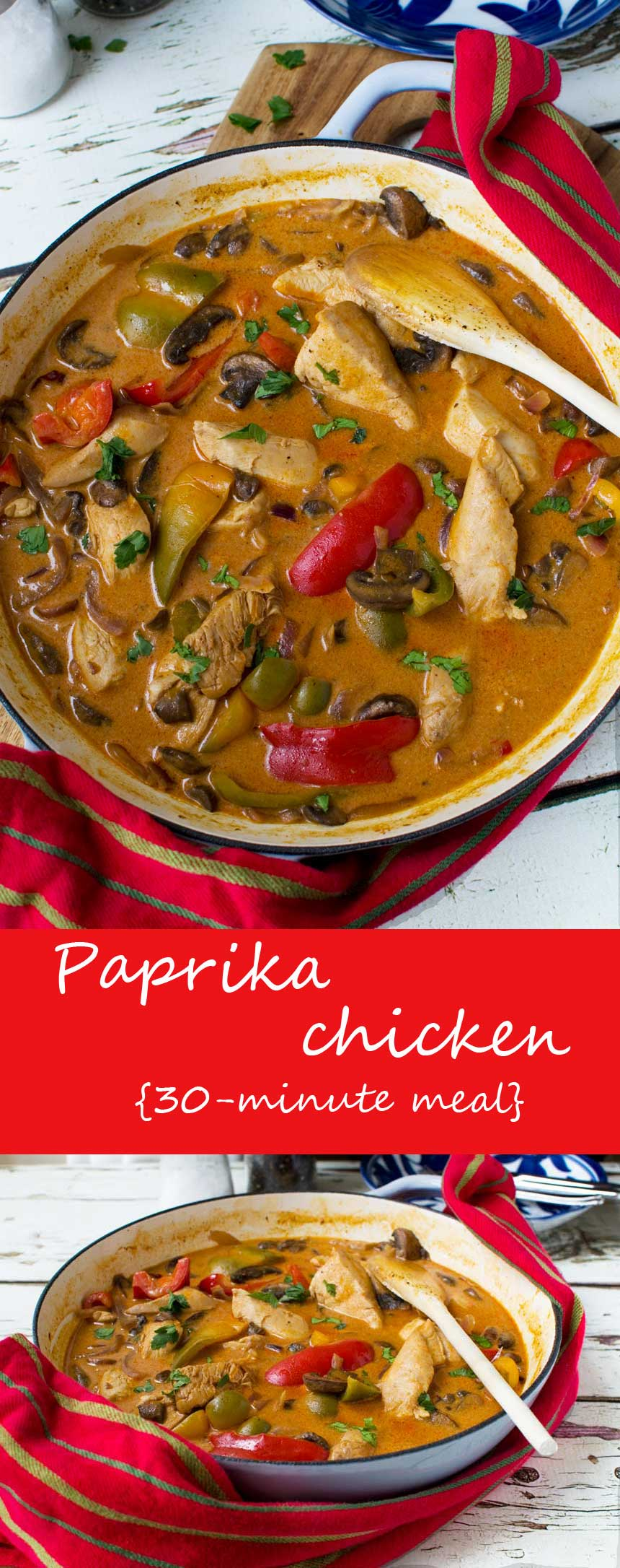 This easy paprika chicken is a smoky, creamy chicken dish with peppers, onions and mushrooms. Delicious, and quick & easy to make! #chicken #scrummylane #paprika #creamy #onions #mushrooms #easydinner