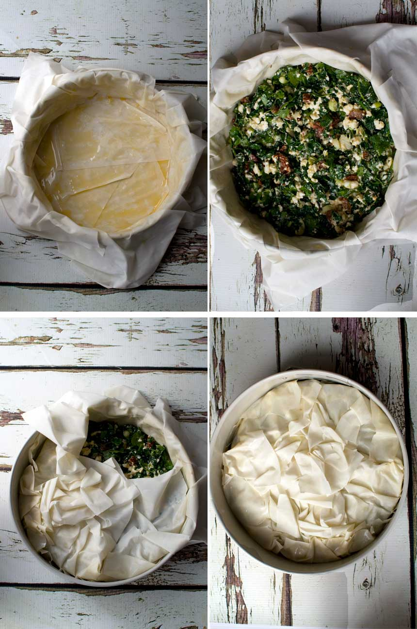 4 images showing how to make a spinach and feta filo pie