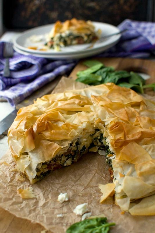 Greek spinach and feta filo pie
