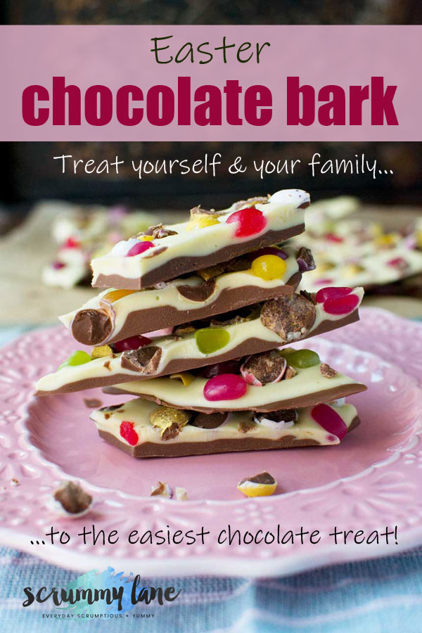 A stack of Easter chocolate bark