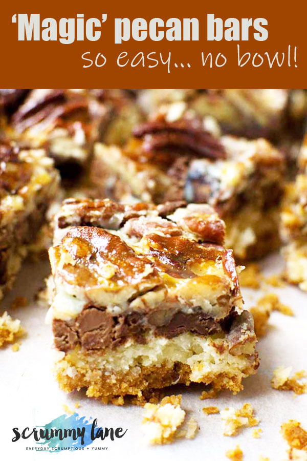 A 7 layer pecan magic bar with more bars in the background