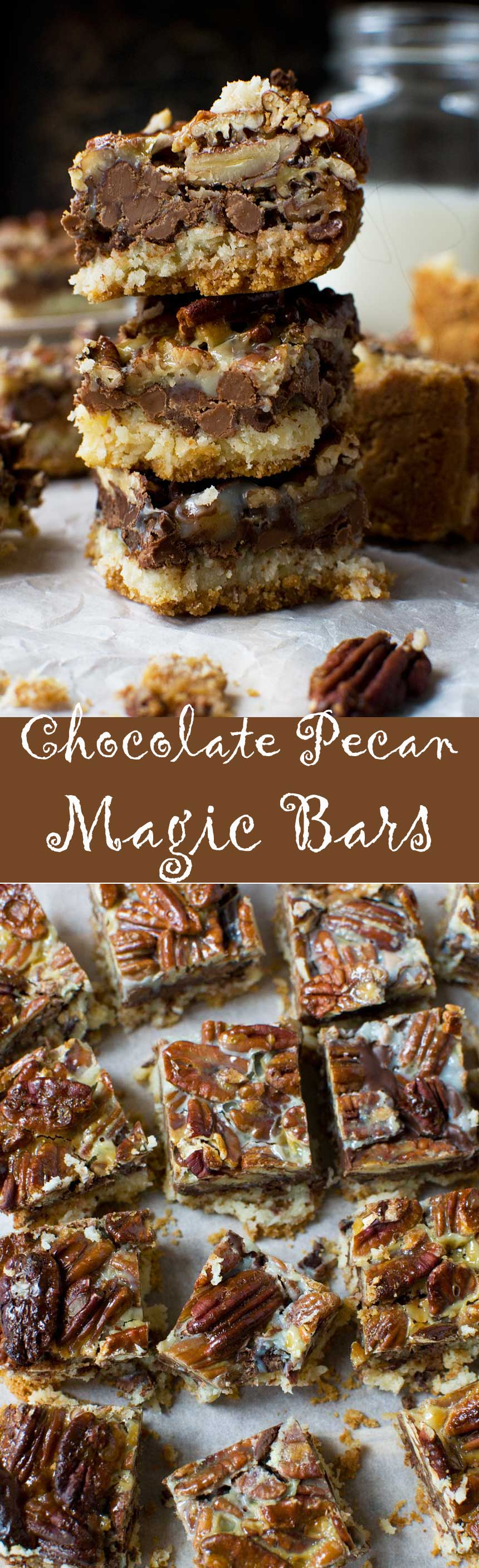 No bowl chocolate pecan bars (magic bars!)