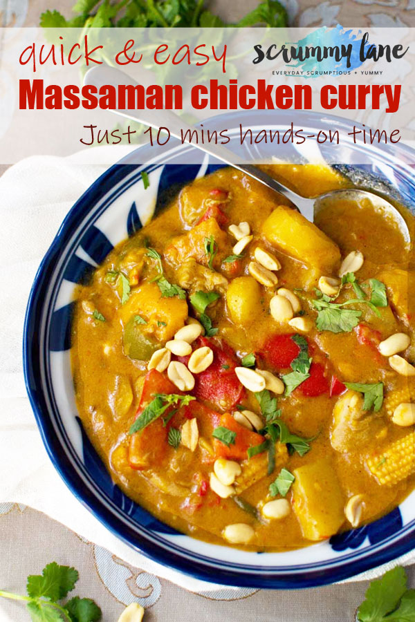 Pinterest image of a bowl of chicken Massaman curry from above