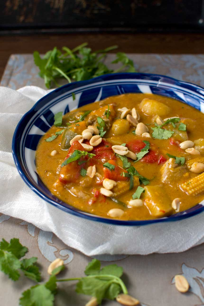 Thai Massaman chicken curry with sweet potaato and peanuts