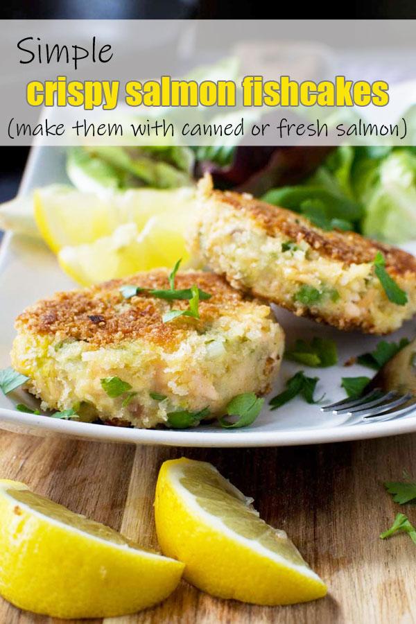 crispy salmon fishcakes on a plate with some salad