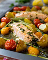 Lemon butter sheet pan salmon with asparagus and potatoes