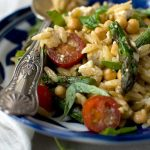 Asparagus, tomato and chickpea orzo salad