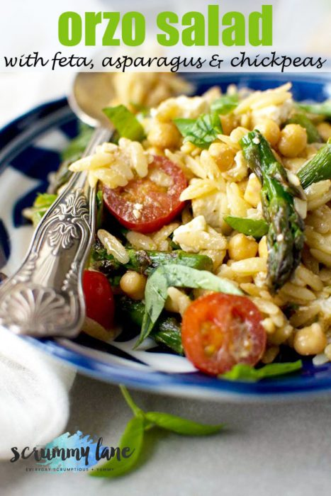 Orzo salad with feta, asparagus and chickpeas