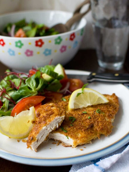 This crispy mustard parmesan chicken is like a chicken schnitzel, but tastier and easier to make!