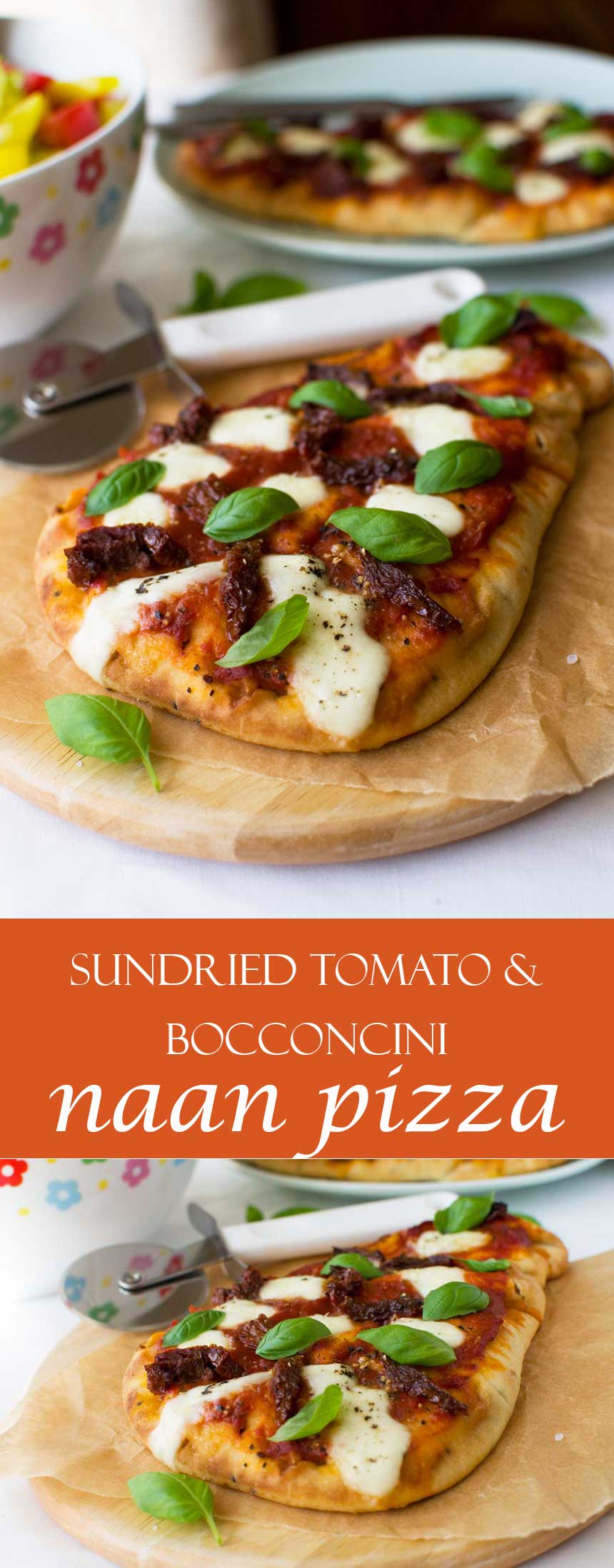 Sun dried tomato and bocconcini naan pizza (easy 20-minute meal!)