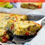 A piece of sheet pan vegetable frittata