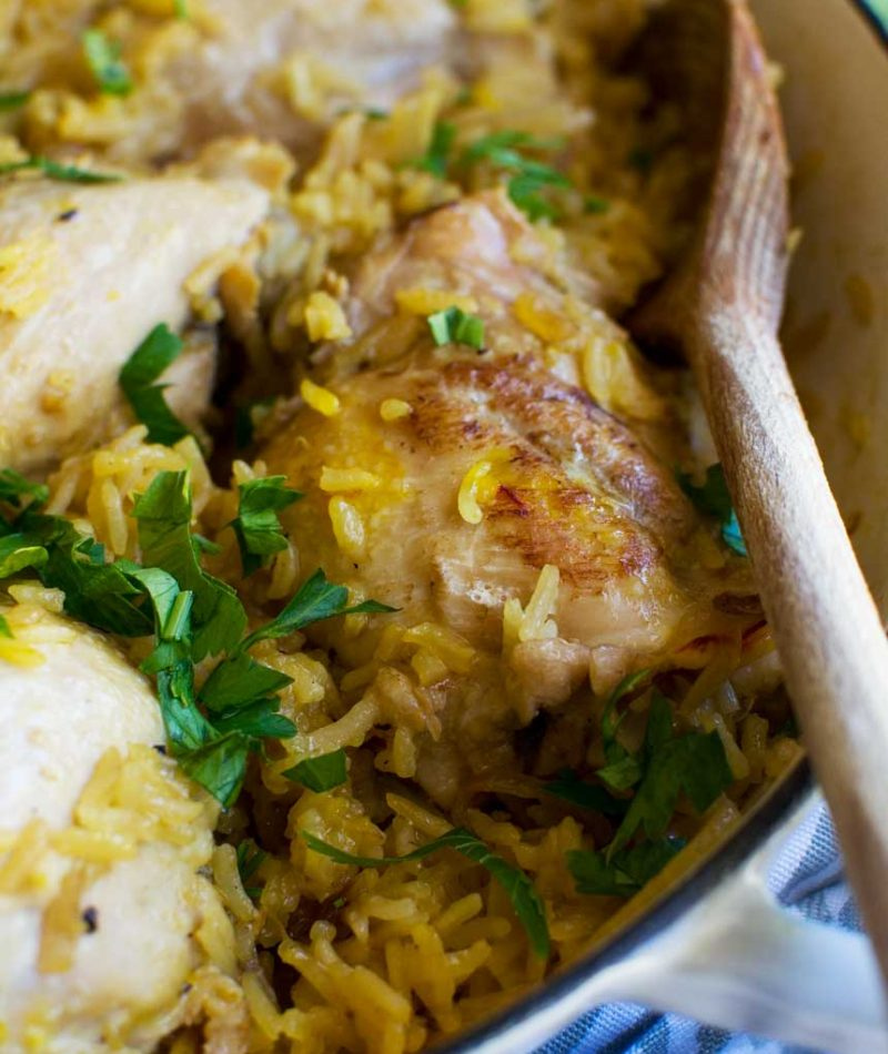 The simplest stove top chicken and rice (30 minute meal)