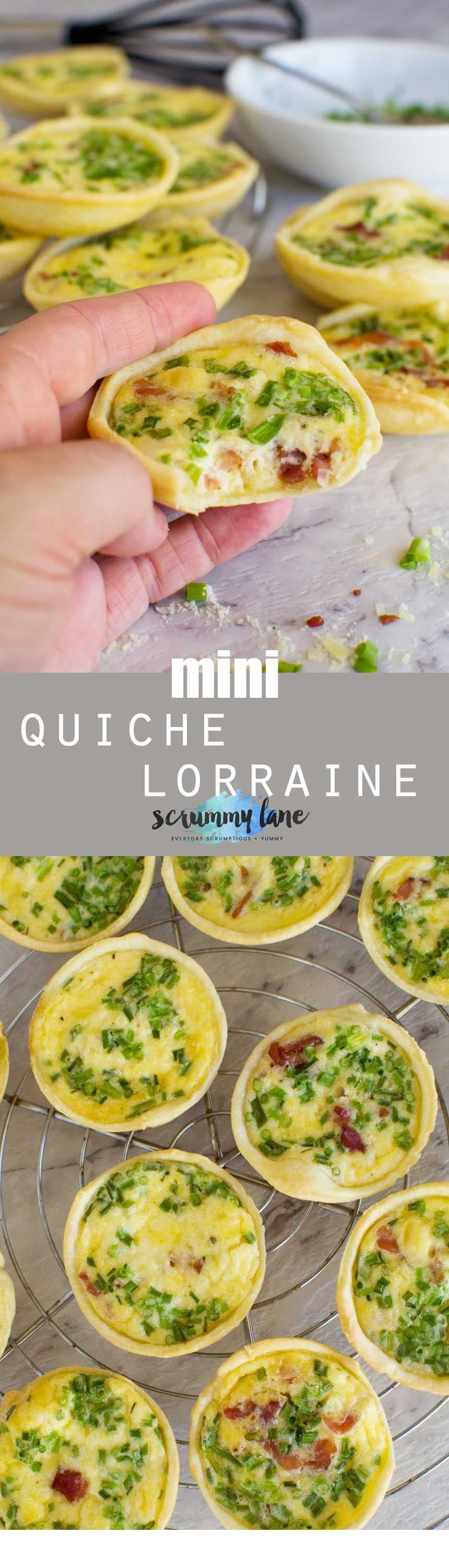 There are never any of these mini quiche lorraine left at the party. Stash some away in the freezer. Only 6 ingredients - and no pre baking of the pastry!
