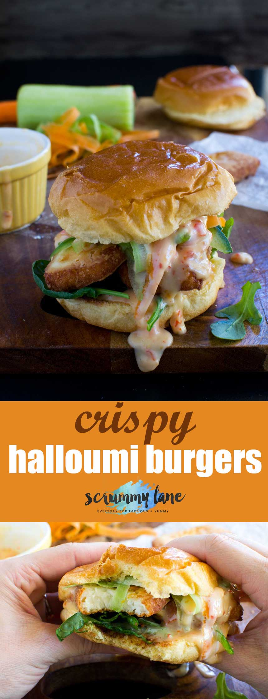 Crispy halloumi burgers with sweet chilli mayonnaise