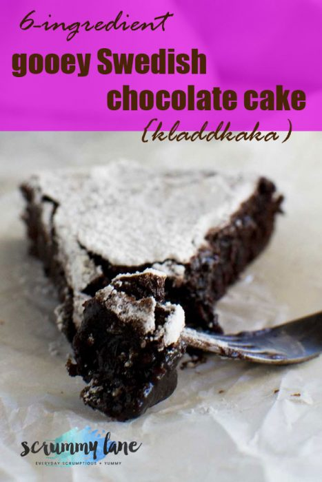 A slice of gooey Swedish chocolate cake and a fork