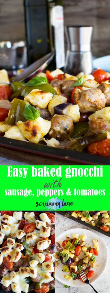 Easy baked gnocchi with sausage, peppers and tomatoes - healthy and delicious, and on the table in only 30 minutes!