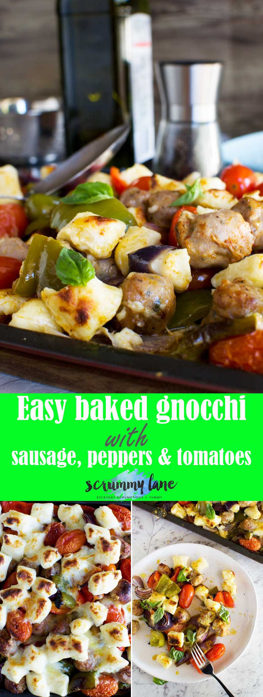 Easy baked gnocchi with sausage, peppers and tomatoes - healthy and delicious, and on the table in only 30 minutes! #gnocchi #italianfood #easymeals #30minutemeal #scrummylane #sausages