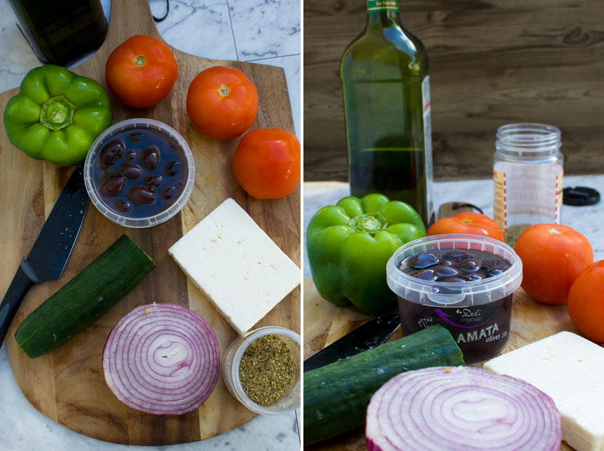 Greek salad ingredients.