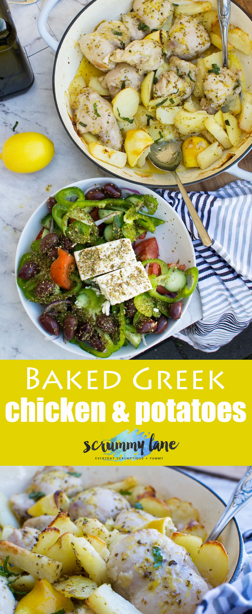 Serve this simple baked Greek chicken & potatoes with a huge traditional Greek salad (see my blog for recipe!) and you'll be in Greek food heaven! #chicken #Greekfood #Greece #Greeksalad #scrummylane #potatoes #onepotmeals