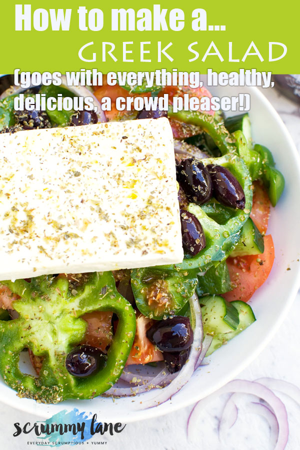 An aerial view of a traditional Greek salad for Pinterest
