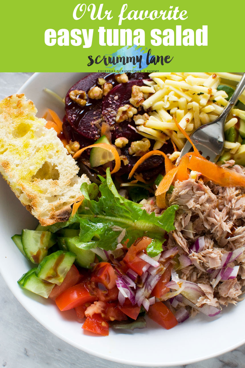 A 10-minute easy tuna salad made with the simplest of ingredients, but you won't believe how delicious it is! #tuna #salad #tunafish #scrummylane #healthyfood #easymeal #summer #easymealideas
