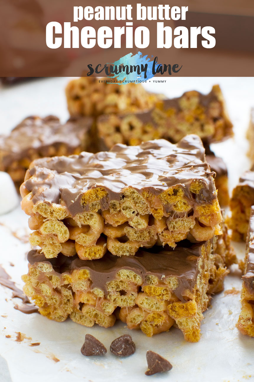 These addictive peanut butter Cheerio bars aren't just for kids. Perfect for parties or just keeping in the freezer for emergency treats! #peanutbutter #Cheerios #chocolate #scrummylane #dessert #easydesserts