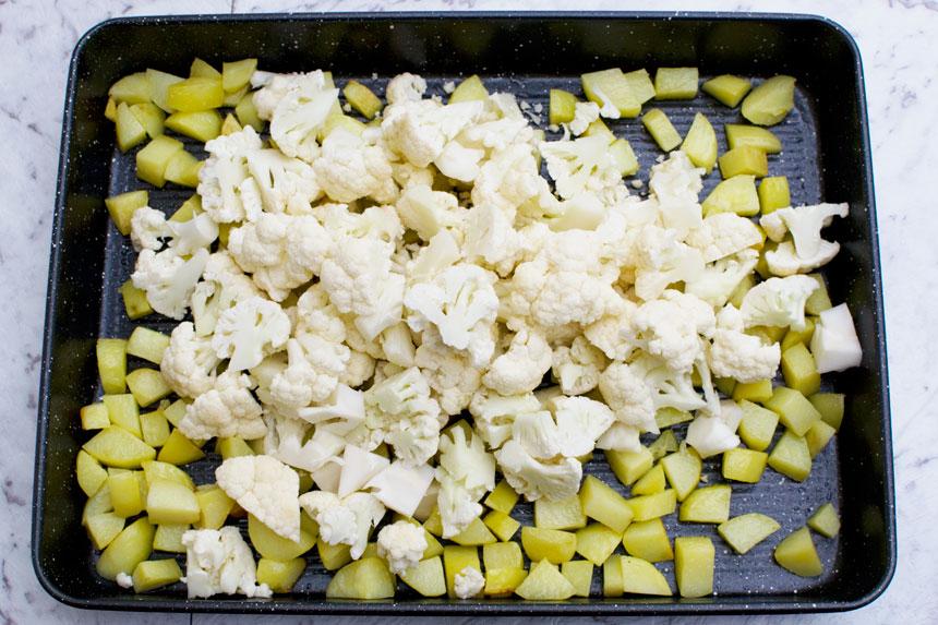 Amazing sheet pan chicken tikka with cauliflower and potatoes