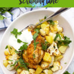 Amazing sheet pan chicken dinner with cauliflower and potatoes