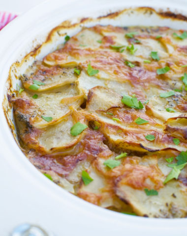 Potato bake with bacon (boulangere potatoes)