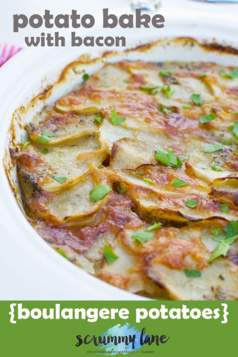 Potato bake with bacon, otherwise known as boulangere potatoes