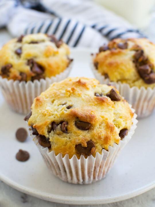 Greek yogurt choc chip muffins (low sugar recipe)