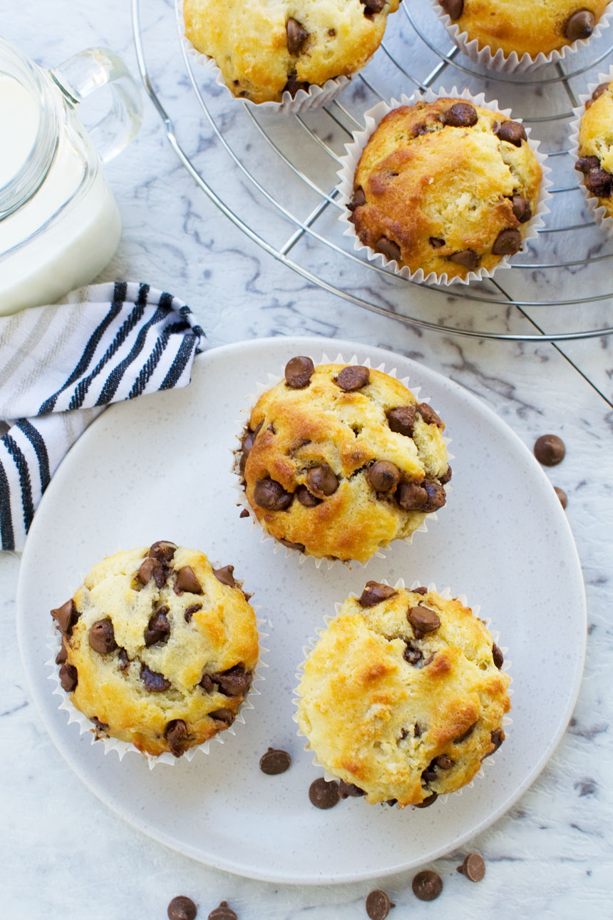 Greek yogurt choc chip muffins (low sugar recipe)
