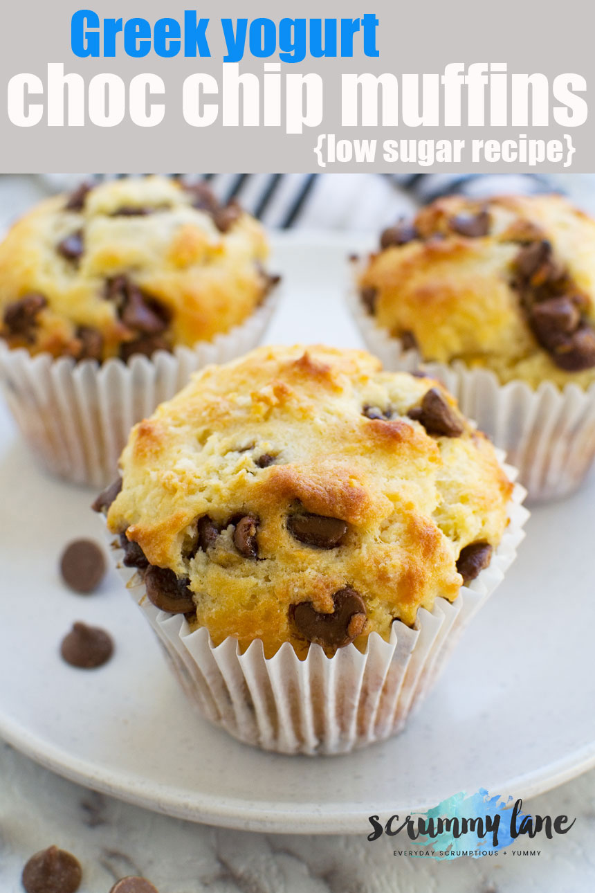 Trust me when I say you need these low sugar Greek yogurt choc chip muffins in your life! #chocolatechipmuffins #muffins #cake #scrummylane #lowsugar #chocolate #dessert