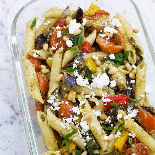 Mediterranean penne pasta salad