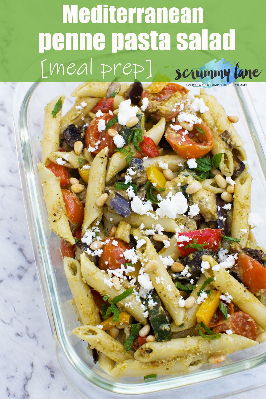 If you're a fan of easy make ahead lunches, this Mediterranean penne pasta salad is perfect. Packed full of vegetables, it's such a healthy & delicious lunch! #mealprep #pasta #pastasalad #mediterranean #italianfood #pesto #italy #lunch #makeahead #easymeals #healthyfood