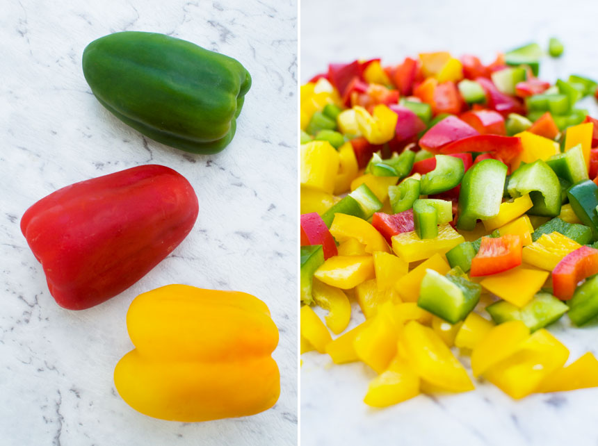 collage of 2 images showing Bell peppers whole and chopped on a marble background