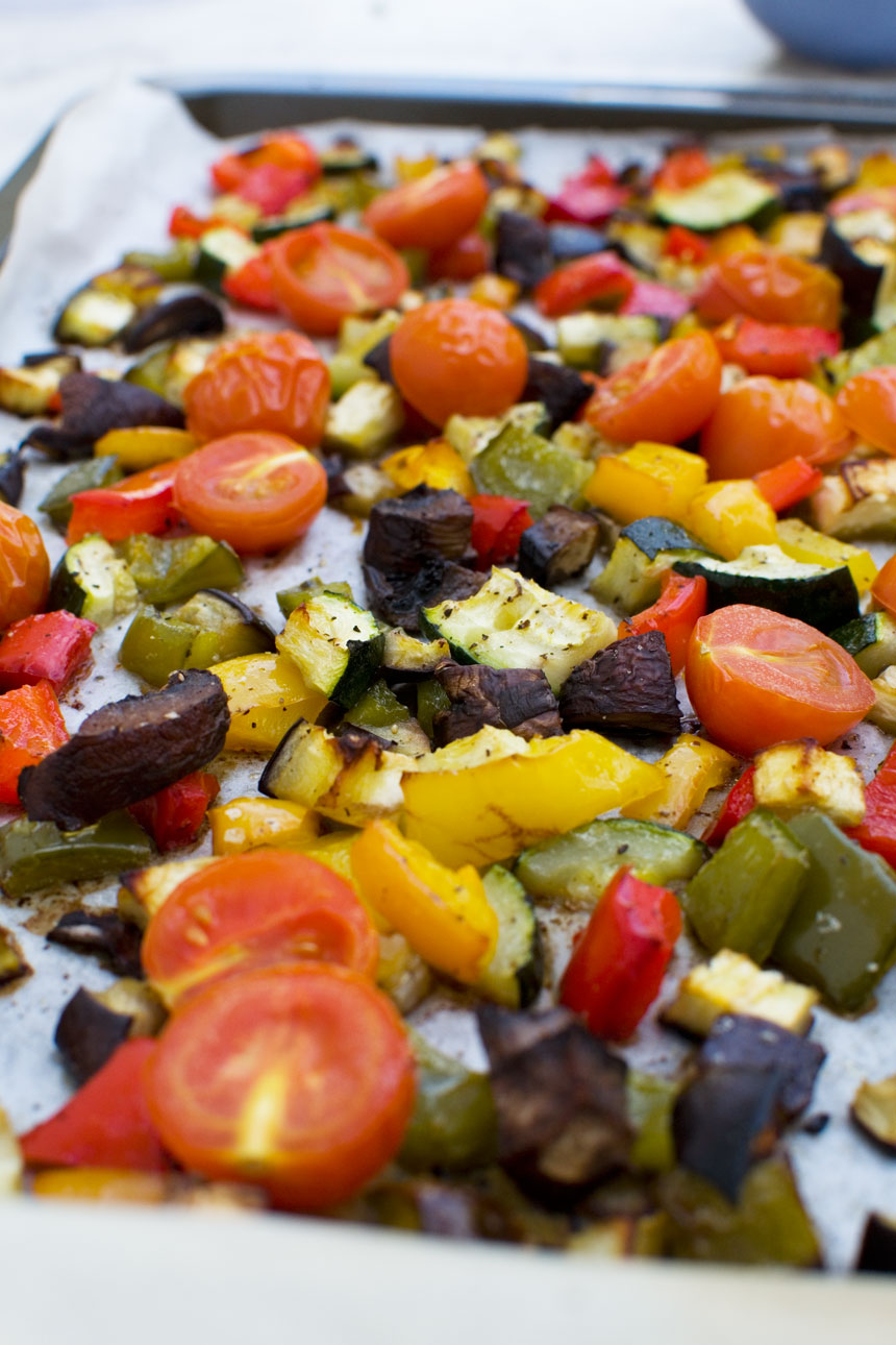 Roasted vegetables for Mediterranean penne pasta salad