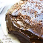 A whole healthy chocolate cake covered with avocado frosting