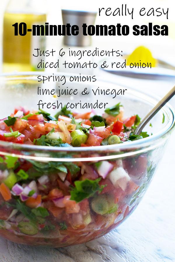 A big bowl of 6-ingredient fresh tomato salsa