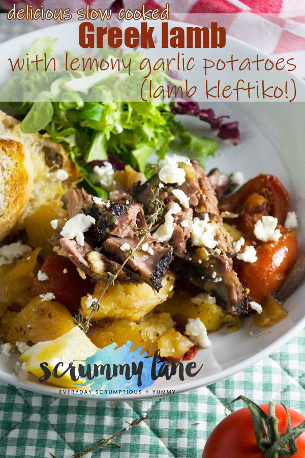 A plate of slow cooked Greek lamb with lemon garlic potatoes