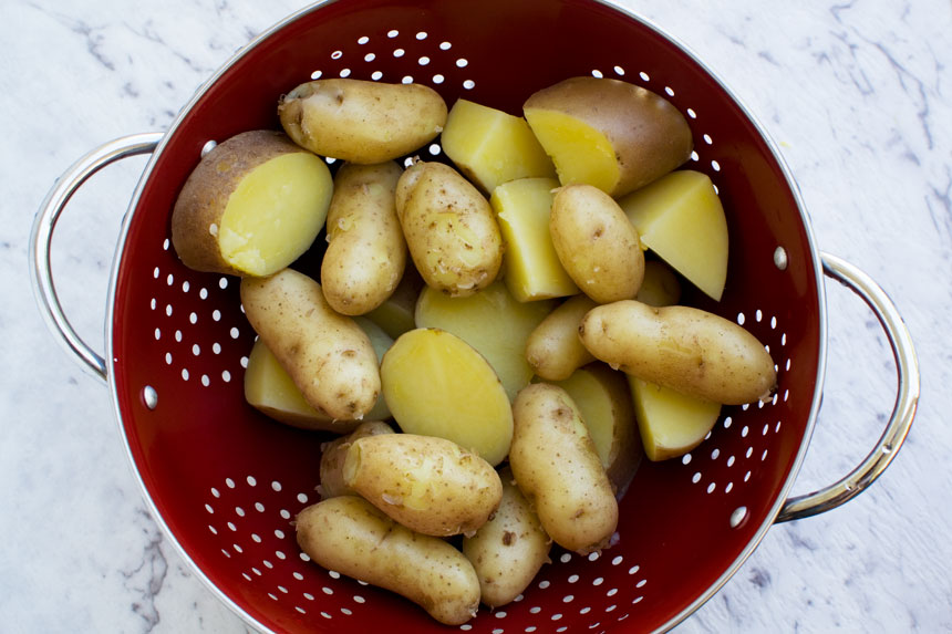 Par boiled potatoes