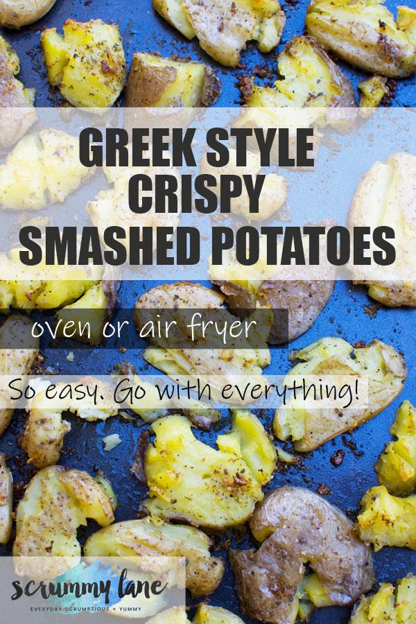 Pinterest image of Greek style crispy smashed potatoes on a baking tray