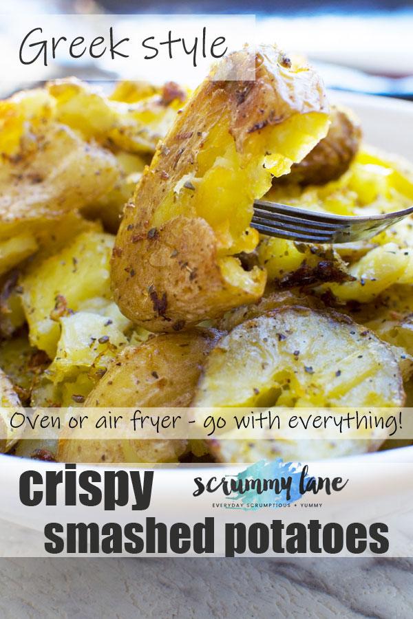Pinterest image of Greek style crispy smashed potatoes
