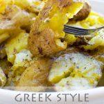 Greek style crispy smashed potatoes