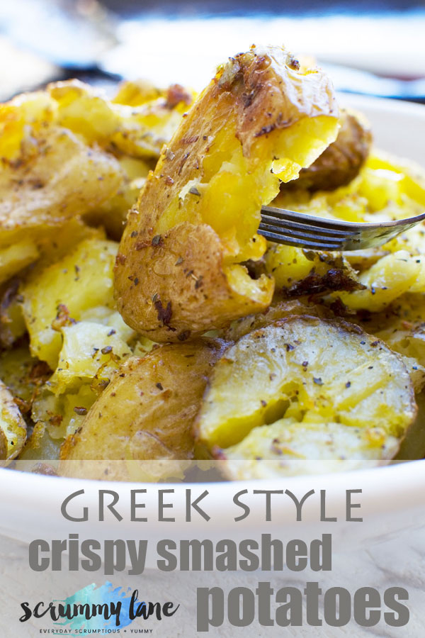 Greek style crispy smashed potatoes