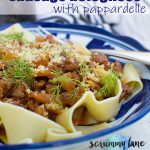 A close up of a plate of sausage pappardelle bolognese