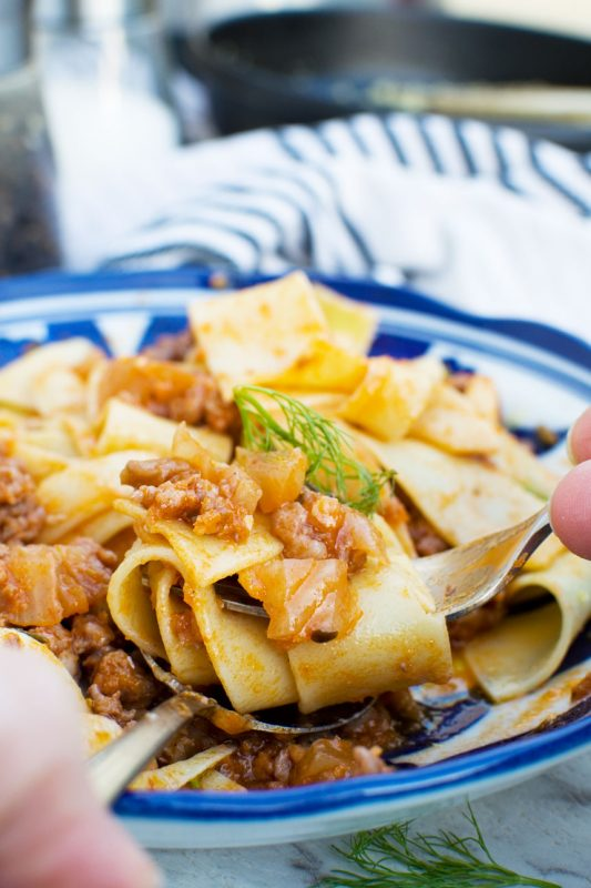 6-ingredient sausage pappardelle bolognese (stove top & pressure cooker)