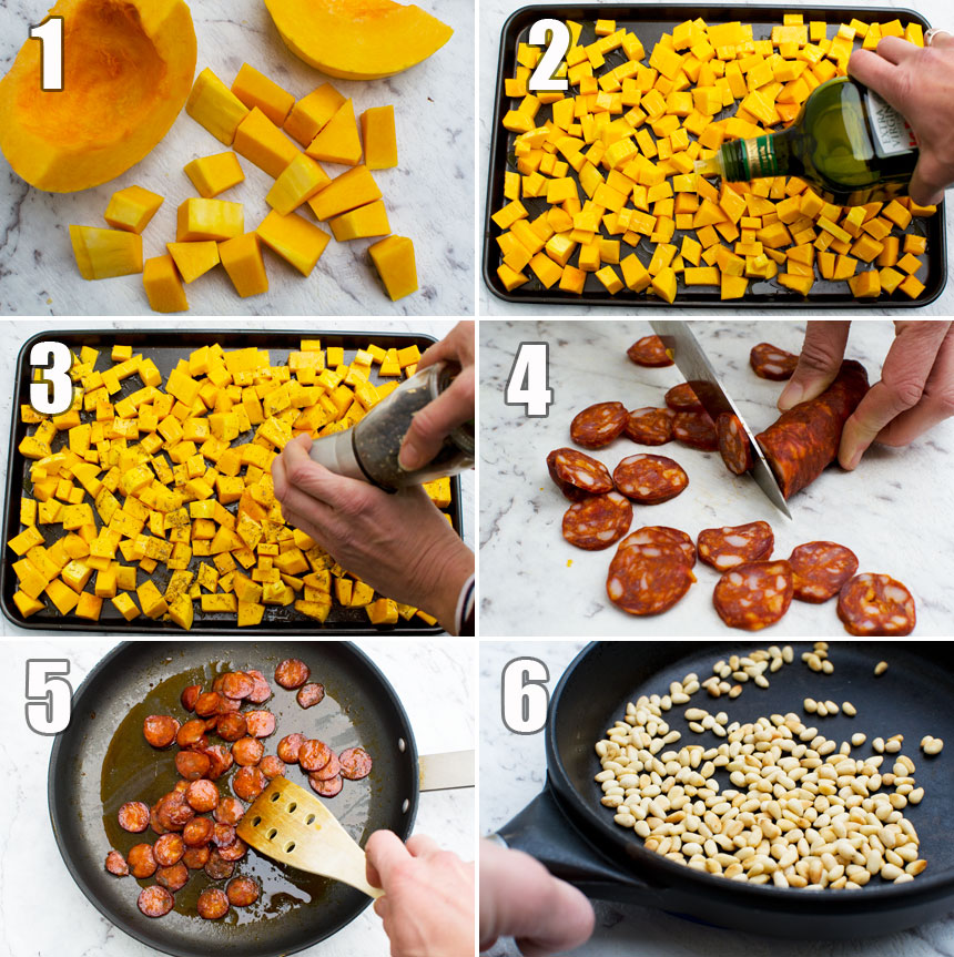 How to make warm roasted butternut squash and chorizo salad