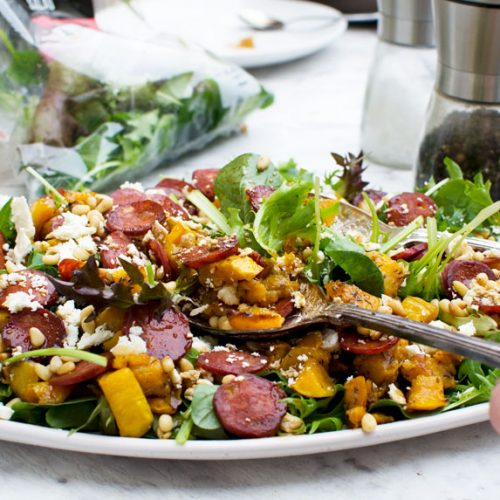 Warm butternut squash, chorizo and feta salad