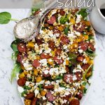 Warm roasted butternut squash and chorizo salad